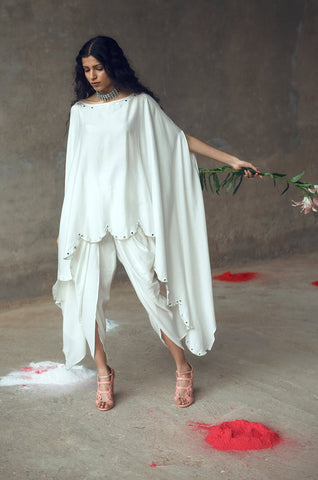 White Top & Dhoti Set wih Kaftaan