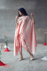 Peach Top & Dhoti Set wih Kaftaan