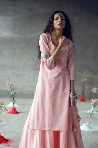 Pink Kurta & Skirt Set