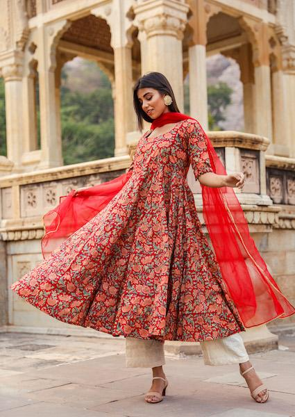Sufi Red Anarkali Set