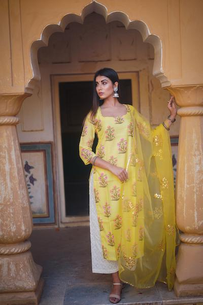 Mehnaaz Yellow Suit Set