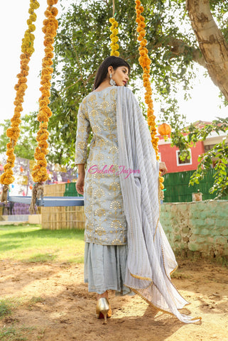 Noorani Grey Sharara Set
