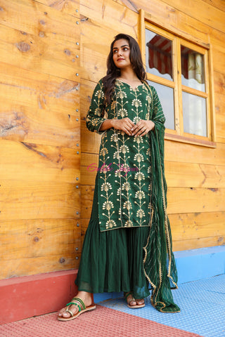 Noorani Green Sharara Set