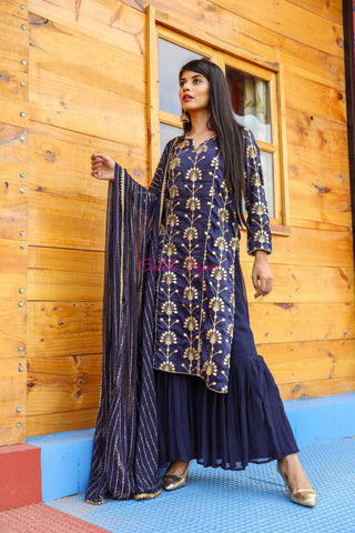 Noorani Blue Sharara Set