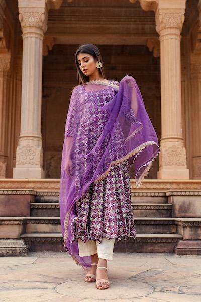 Purple Patola  Anarkali Set