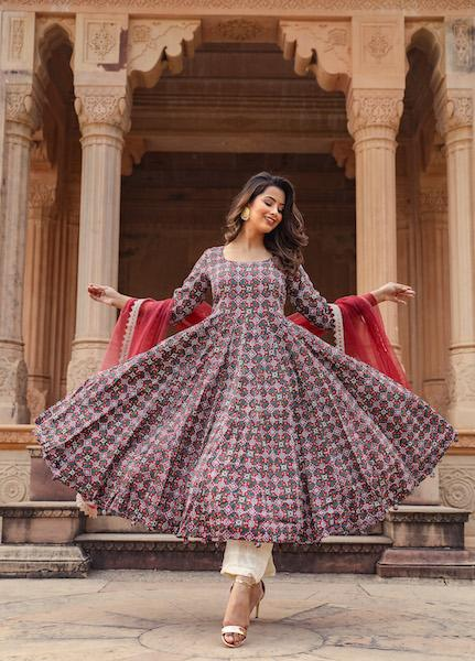 Rust Patola Anarkali Set