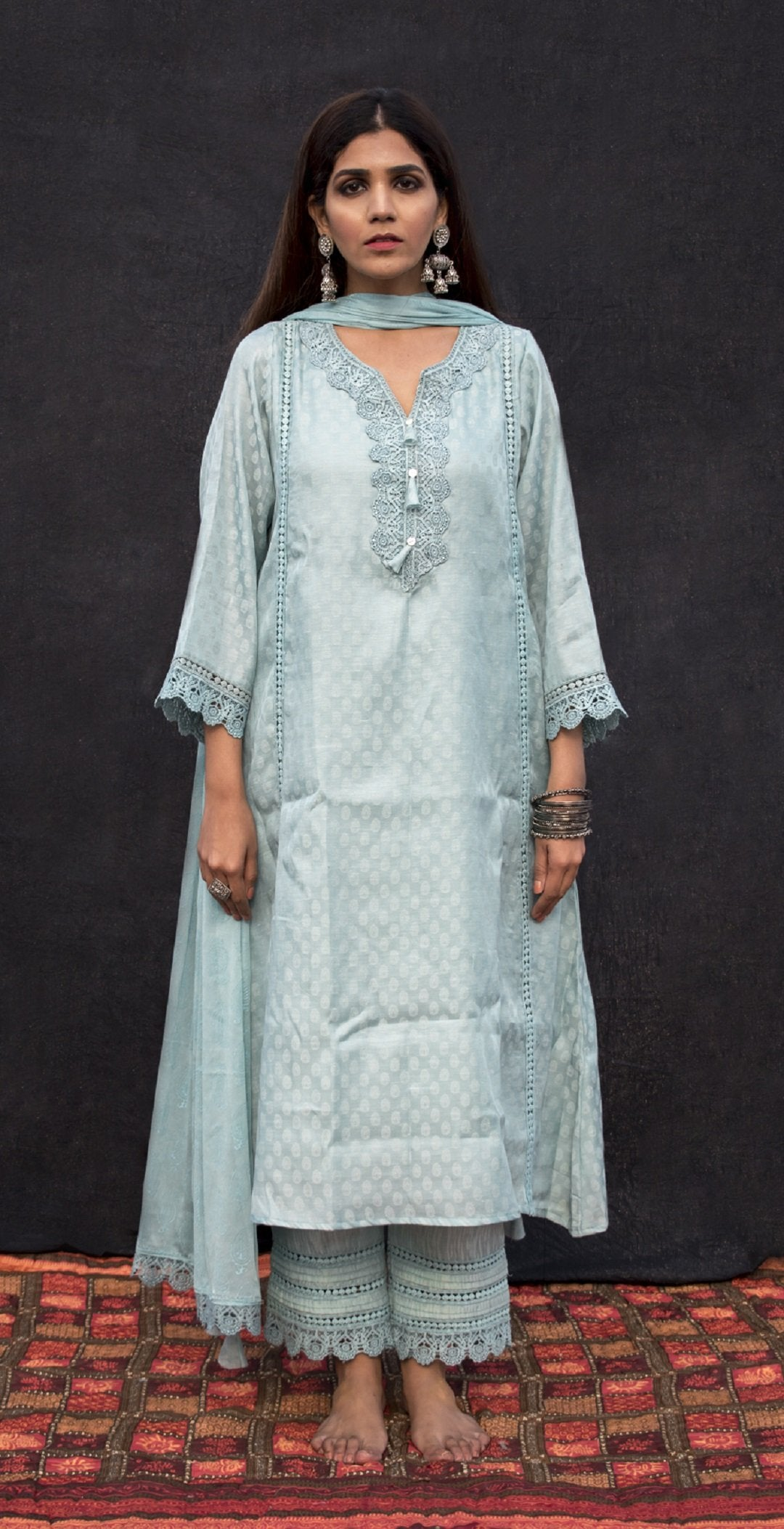 Sky blue kurta set