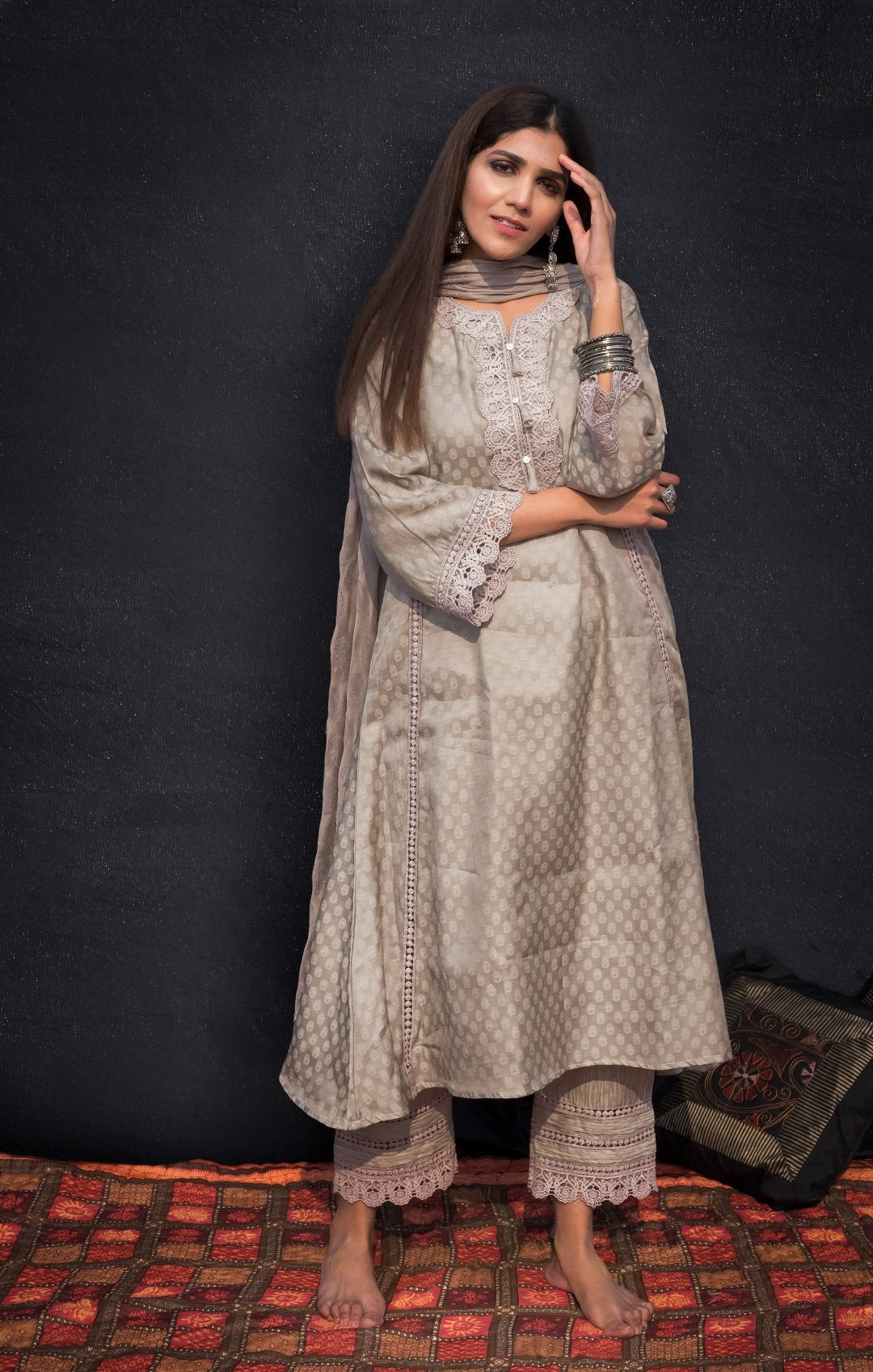 Grey brown kurta set
