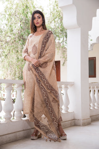 Beige Barkha Suit Set