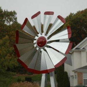 Windmill - Galvanized with Red Tips Backyard 8'3""
