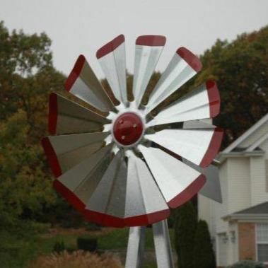 Windmill - Galvanized with Red Tips Backyard 8'3
