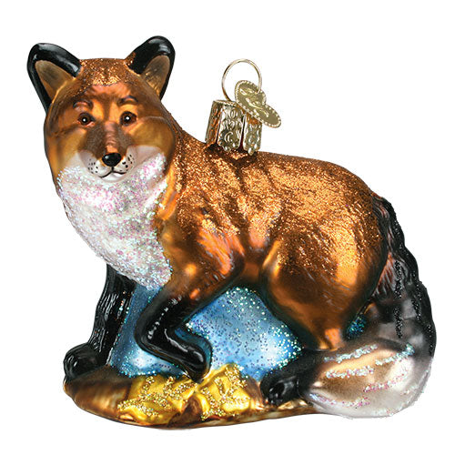 One World Christmas Ornaments- Glass Red Fox