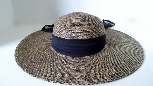 Equestrian Bit Button Wide Brim Hat with Ribbon