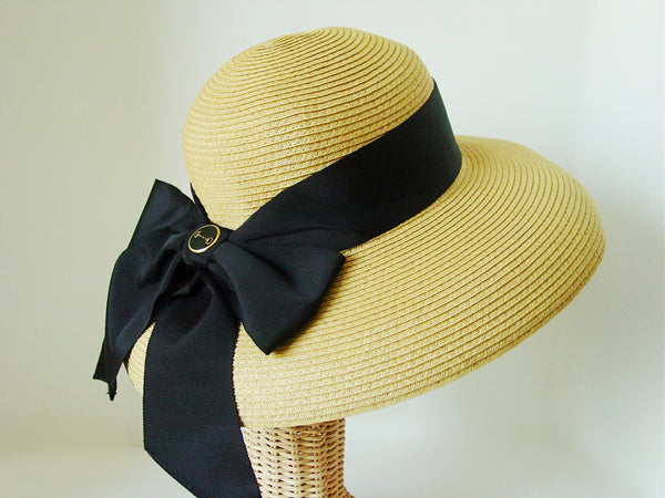 Equestrian Bit Accented Lampshade Straw Hat with Wide Ribbon