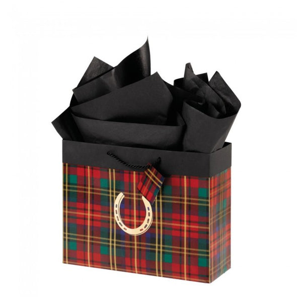Plaid Gift Bag with Horseshoe