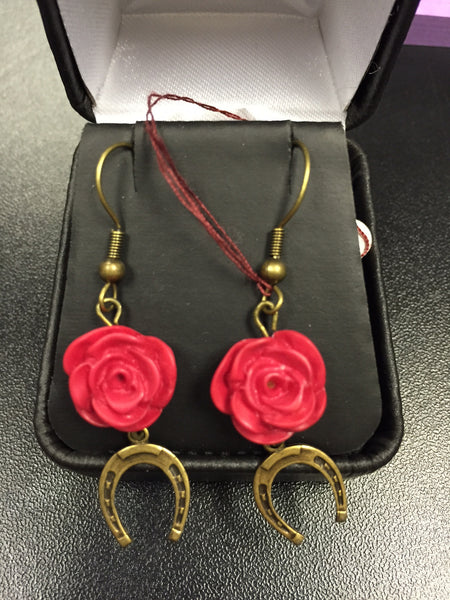 Horseshoe and Rose Earrings - The Tack Shop of Lexington