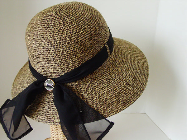 Equestrian Bit Button Lampshade Paper Braid Hat with Sheer Ribbon