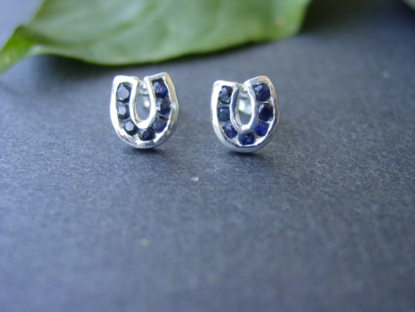 Baron Genuine Sapphire in Horseshoe Stud Earrings