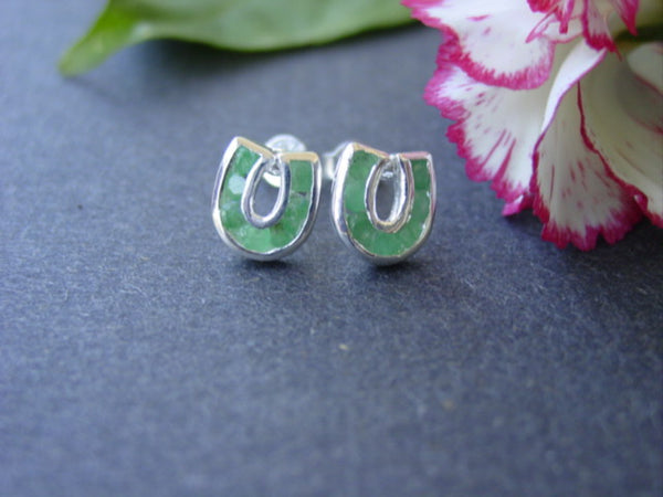 Baron Emerald Gemstone Horseshoe Stud Earrings