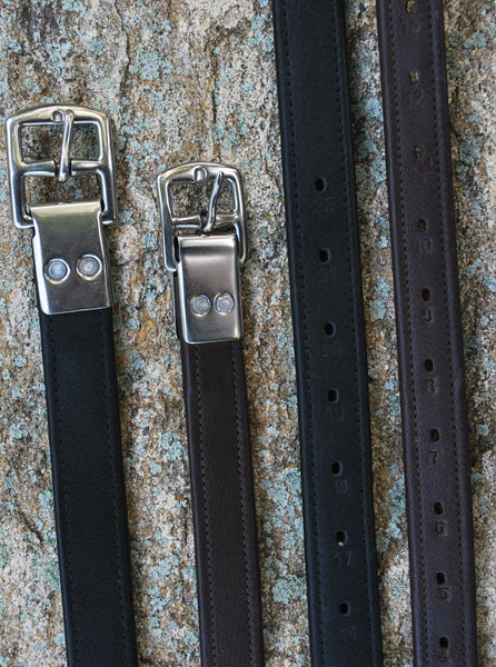 Black Oak Flat Buckle Calf Lined Stirrup Leathers