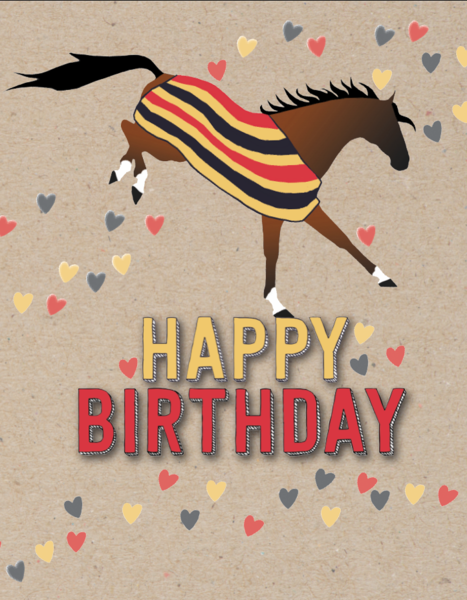 Happy Birthday Card w/Horse Bucking