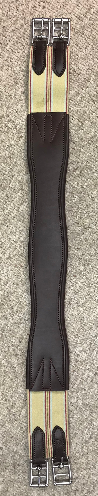 Horse Fare Leather Overlay Double Elastic Girth