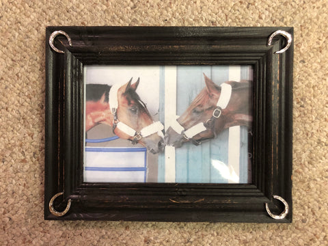 American Artists Sunwashed Wooden Frame with Horseshoes
