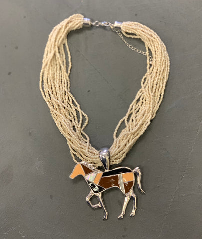 Art Deco Horse Pendant with Multi Strand Beaded Necklace