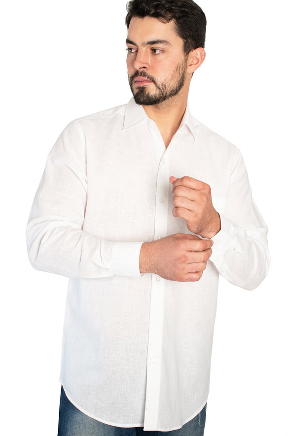 Camisa Lino Blanco ML Classic Fit