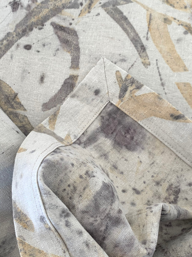 Hemp linen bed throw - Print 4/20Oct20