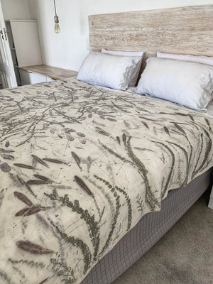 Hemp silk bed throw - Print 3/19Nov20