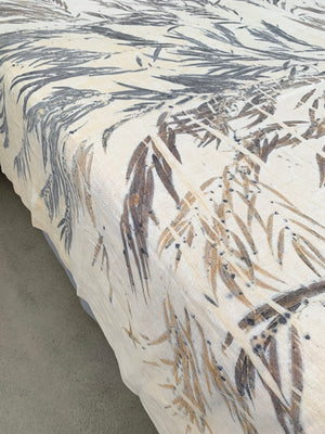 Flax linen bed throw - Print 3/4Nov20