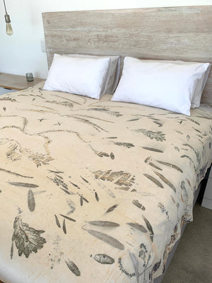 Hemp linen bed throw - Print 2/29Oct20