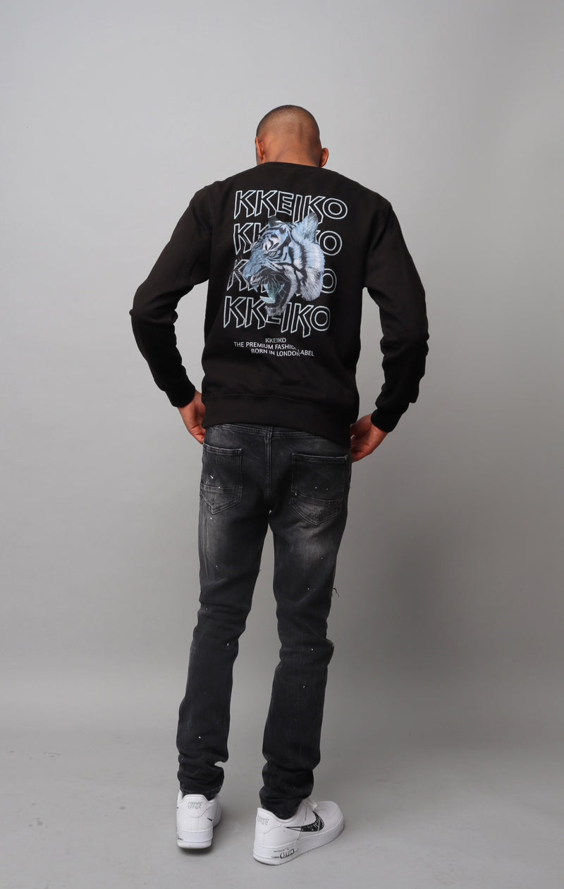 BLUE TIGER SWEATSHIRT- BLACK