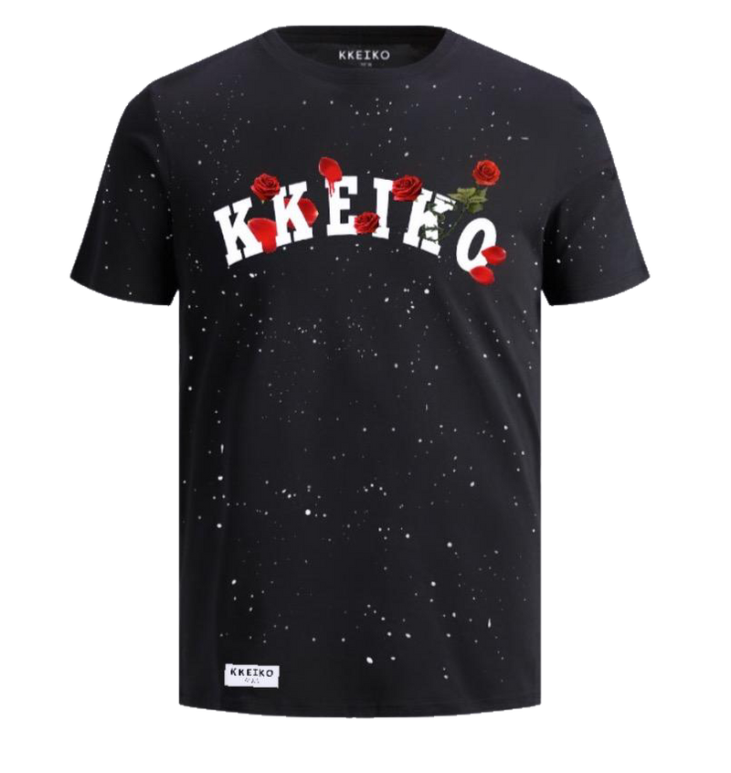 RED ROSE T-SHIRT - BLACK
