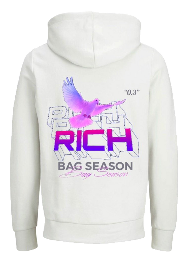RICH | BAG SEASON HOODIE - WHITE