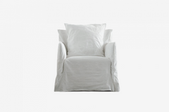 Fauteuil Ghost lin blanc / Ghost Armchair white linen