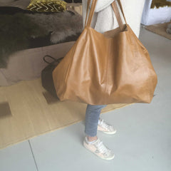 Cabas ballon en Cuir / Leather balloon tote bag