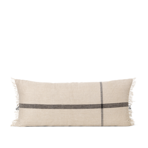 ferm LIVING - Calm Cushion Long - Offwhite/Sort