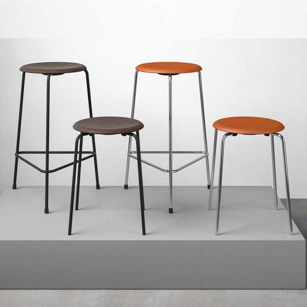 Fritz Hansen - HIGH Dot™ Stool - Black steel / Black leather - H65 cm