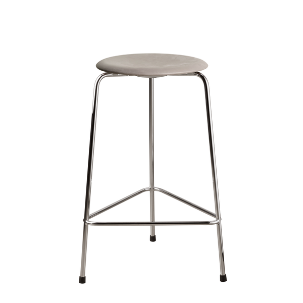 Fritz Hansen - HIGH Dot™ Stool - Chrome m. Lava læder - H65 cm
