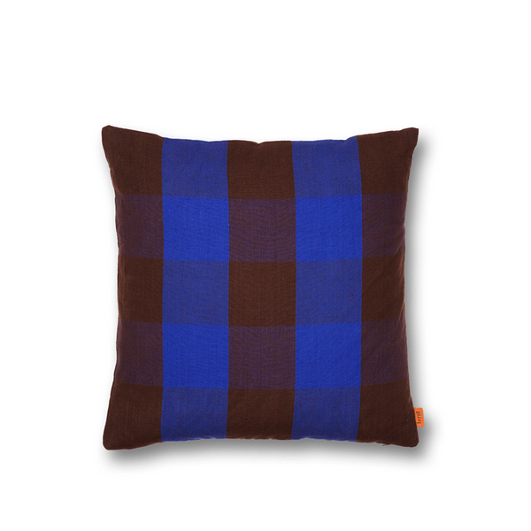 ferm LIVING - Grand Cushion - Pude - Brun & Blå