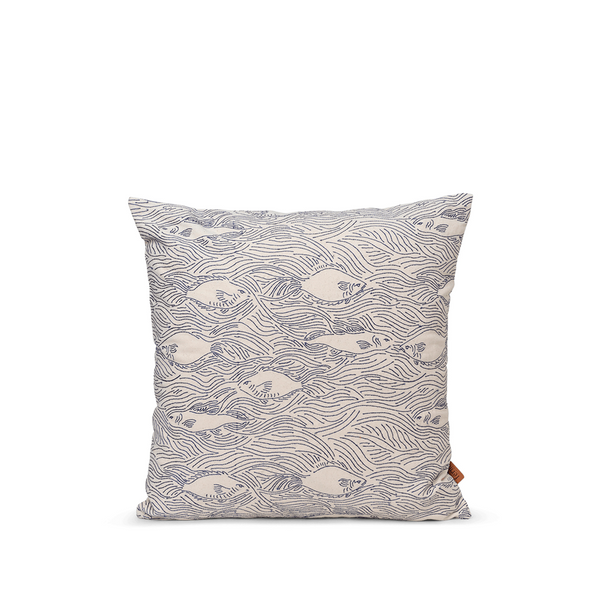ferm LIVING - Stream Cushion - Offwhite/Navy Blue