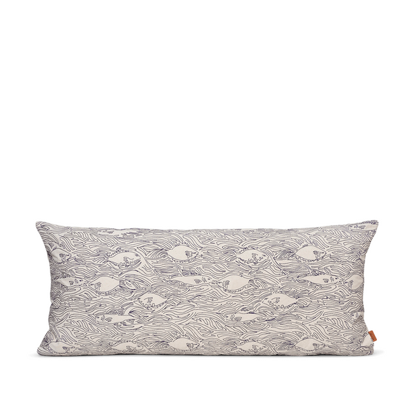 ferm LIVING - Stream Cushion long - Offwhite/Navy blue