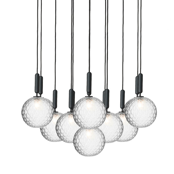 Nuura - Miira 13 Large - Chandelier - Stone Grey/Optic clear - Ø98 cm