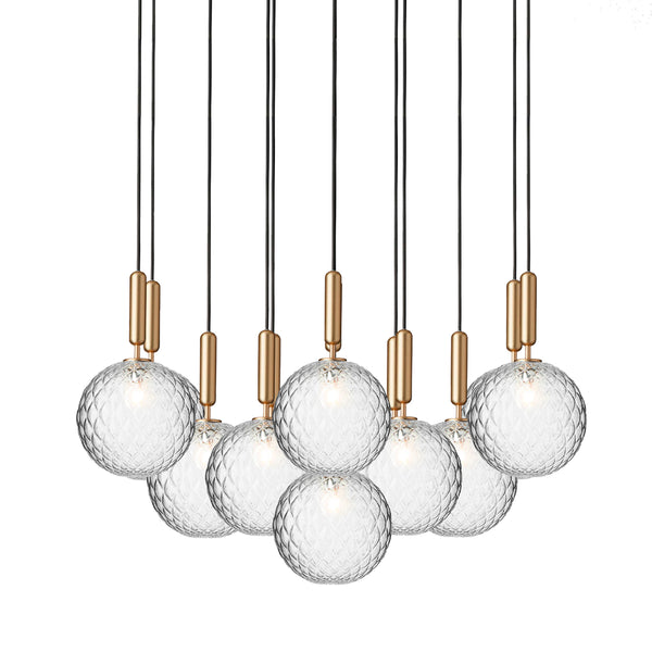 Nuura - Miira 13 Large - Chandelier - Messing/Optic clear - Ø98 cm