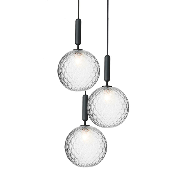 Nuura - Miira 3 Large - Chandelier - Rock grey/Optic glas - Ø37 cm