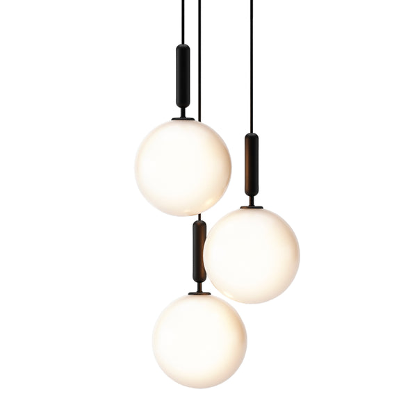 Nuura - Miira 3 Large - Chandelier - Rock grey/Opal - Ø37 cm