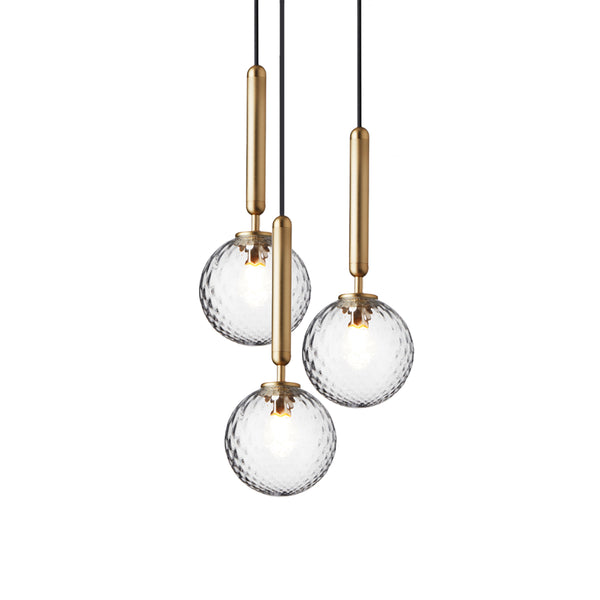 Nuura - Miira 3 - Chandelier - Brass/Optic Clear - Ø33 cm