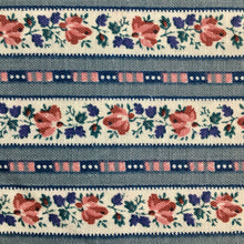 Load image into Gallery viewer, Dusky Blue & Pink Floral Stripe Cotton 1.65m
